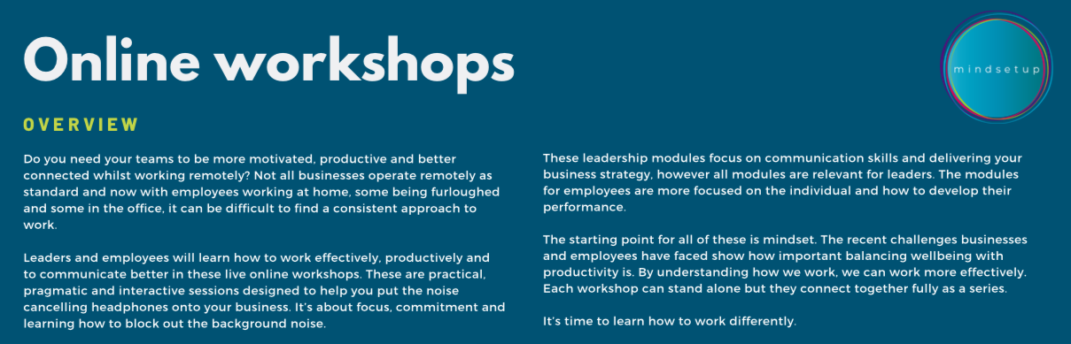 leadership and employee online workshops
